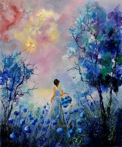 Eglantineu0027s Morning Walk Original Art Painting By Ledent Pol    DailyPainters.com
