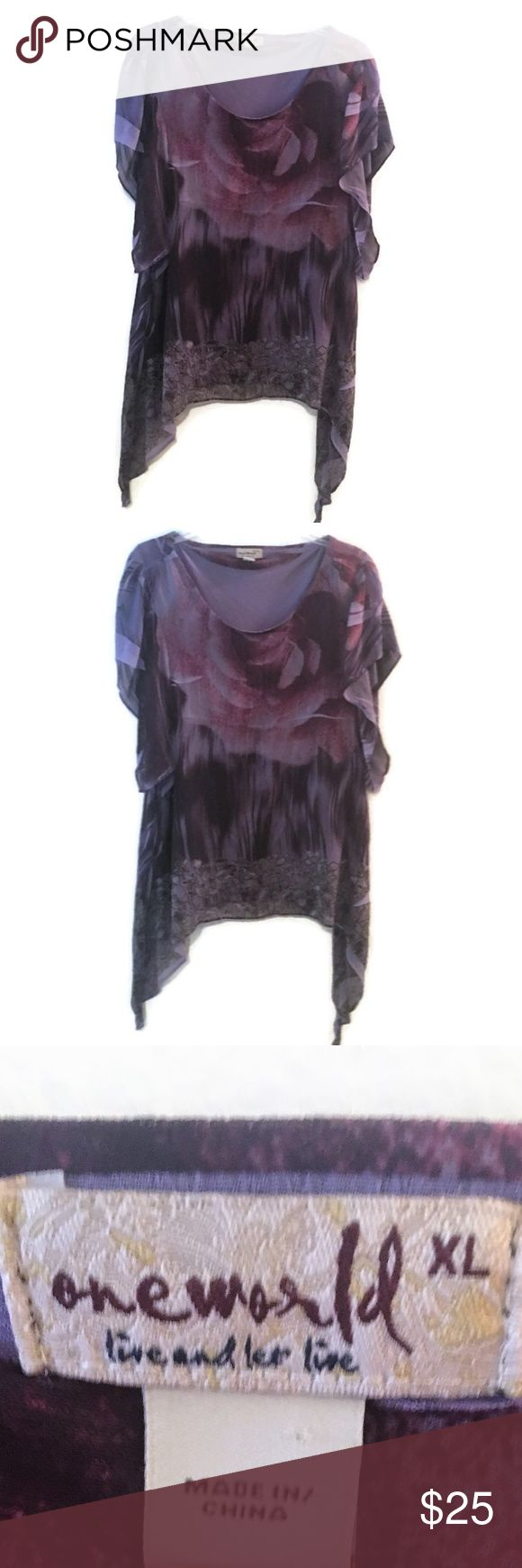 One World Tunic - XL Floral Rose Purple ~ EUC One World Tunic (Live and Let Live)  Size XL Shark Bite Hemline Beautiful Floral Print Scoop Neck Length (shoulder to bottom) - 26-36 inches Armpit to Armpit - 23 inches   ** EXCELLENT Used Condition ** Comes from Smoke Free Home No tag with fabric information ONE WORLD Tops Tunics