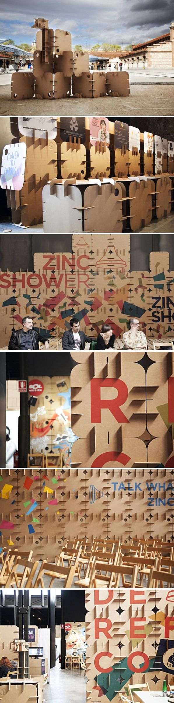 Display pannels exhibition modular cardboard | Zincshower event at Matadero Madrid by Cartonlab, SOPA y Cuartoymitad architects more info:http://cartonlab.com/proyecto/cartonlab-en-zincshower-2014/