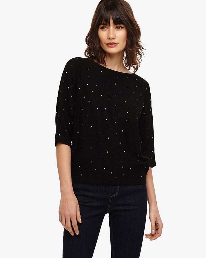 6314117c388 Phase Eight Cristine Multi Diamante Knitted Top Black | 2019 winter ...
