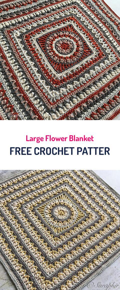 Large Flower Blanket Free Crochet Pattern #crochet #yarn #crafts #homedecor #style