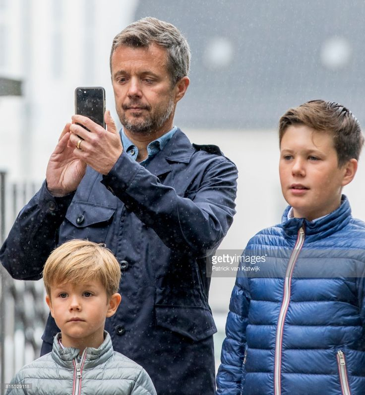 Crown Prince Frederik of Denmark, Prince Christian of Denmark and Prince Vincent of Denmark attend the Ringsted horse ceremony at Grasten Slot during their summer vacation on July 16, 2017 in Grasten, Denmark.