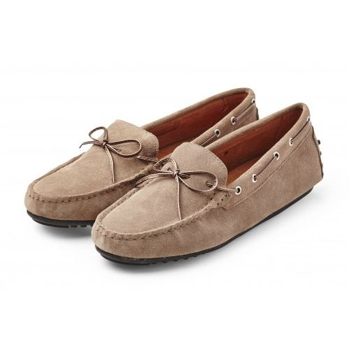 Walnut Driving Loafers in Taupe Suede - Sacs On Jenkins
