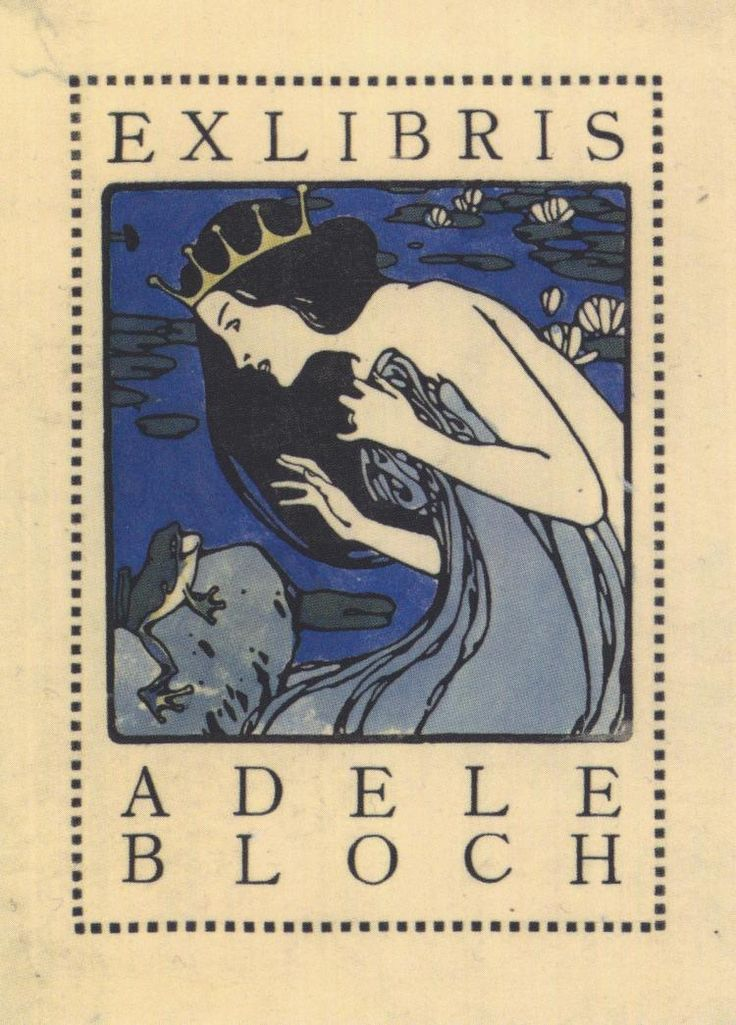 Коломан Мозер -  Exlibris Adele Bloch - Bookplate with princess and frog  (c.1905) - Открыть в полный размер