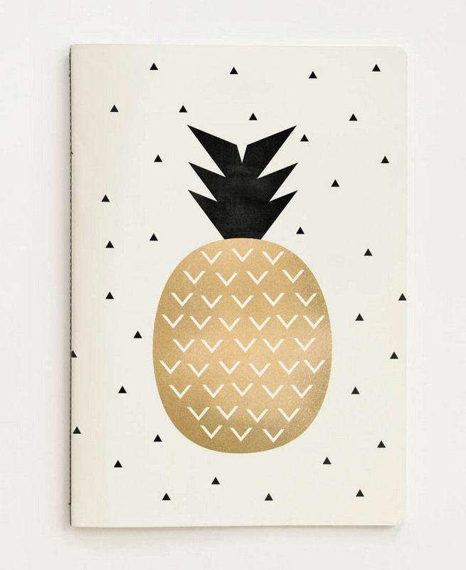 Golden Pineapple en Carnet de notes par Elisabeth Fredriksson | JUNIQE