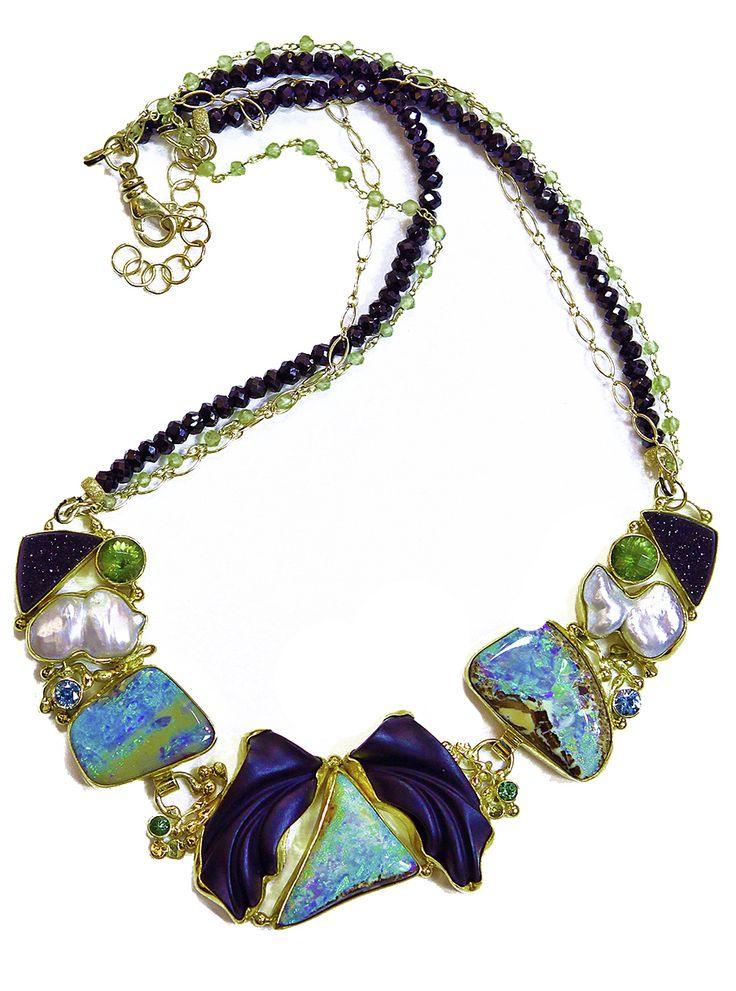 Jennifer Kalled, Boulder opal necklace with black jade