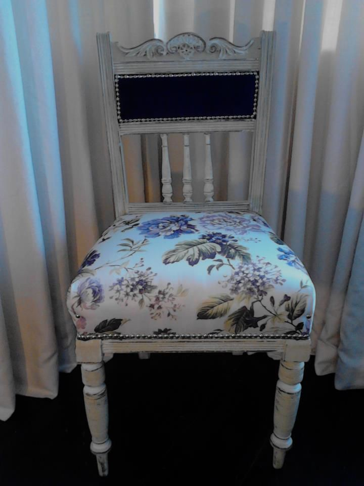Edwardian chair painted in Linen white, Highlighted and distressed....reupholstered professionally in Today Interiors Velvet/Romo Print.