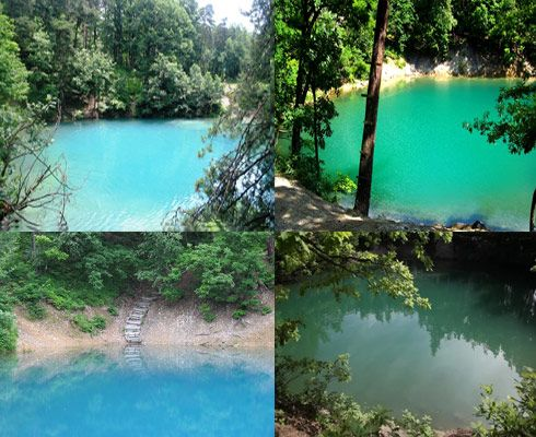 Blue Lake- the only one in the world that changes its color depending on the light and the people that swim in its waters Location: Baia Sprie, near Baia Mare- #Romania