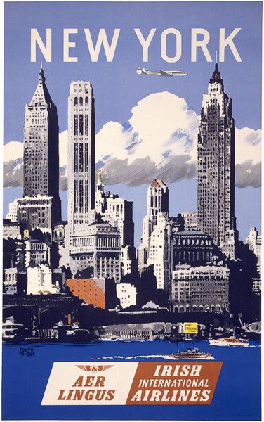 Vintage New York travel poster. Aer Lingus. Irish International Airlines. This poster shows the New York City skyline with a jet airplane flying above. Circa 1950s. Illustrated by Adolph Treidler.