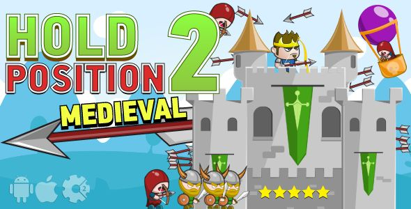 Hold position 2: medieval - HTML5 game. Construct2 (.capx) + cocoon ADS + mobile control . Hold has features such as High Resolution: Yes, Compatible Browsers: IE9, IE10, IE11, Firefox, Safari, Opera, Chrome, Edge, Software Version: HTML5, Construct 2, Other
