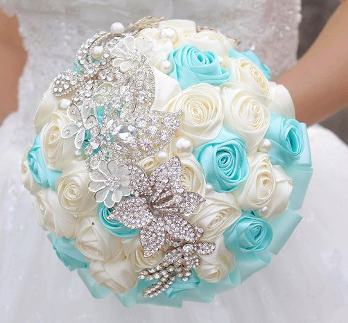 Tiffany Blue & Ivory Wedding bouquets, roses brooch bouquet, custom bridal…