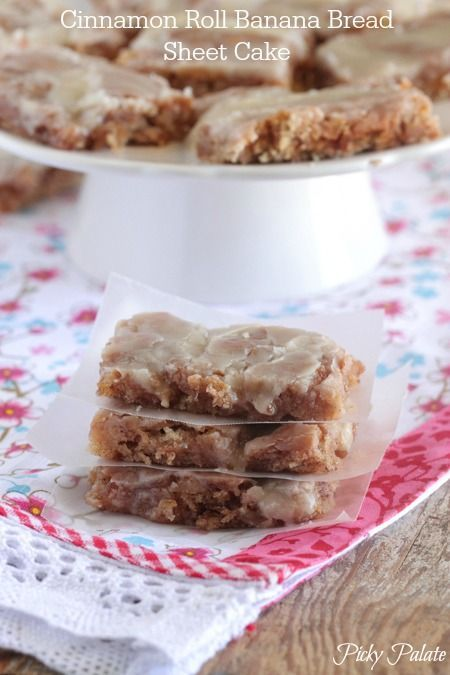 Cinnamon Roll Banana Bread Sheet Cake Recipe @Jenny Flake, Picky Palate