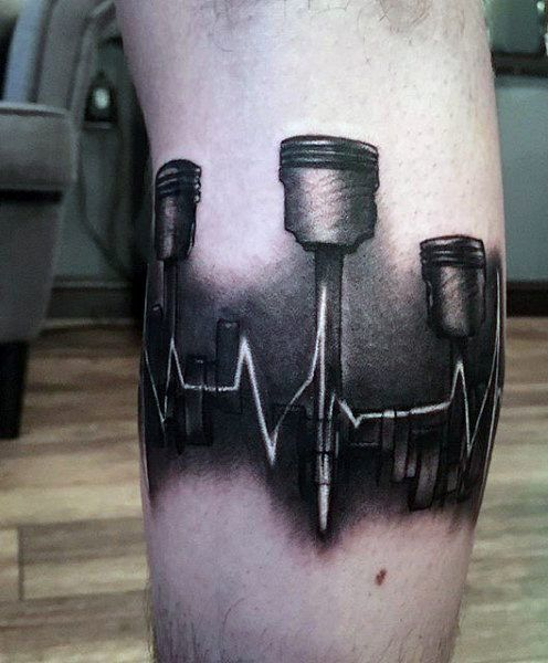 awesome Tattoo Trends - Sound Wave Piston Tattoo On Man...