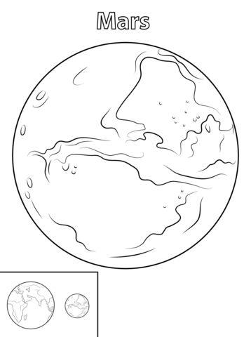 Mars Planet coloring page from Planets category. Select from 24652 printable crafts of cartoons, nature, animals, Bible and many more.