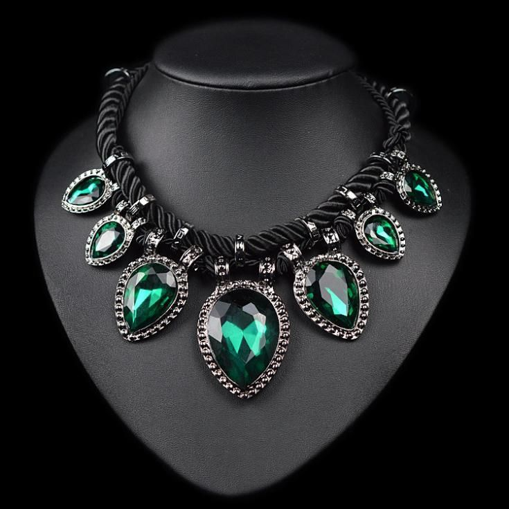 Hand made green crystal neckalce rope water drop chunky chocker necklace women //Price: $12.95 & FREE Shipping //     #gold #luxury   Hand made green crystal neckalce rope water drop chunky chocker necklace women