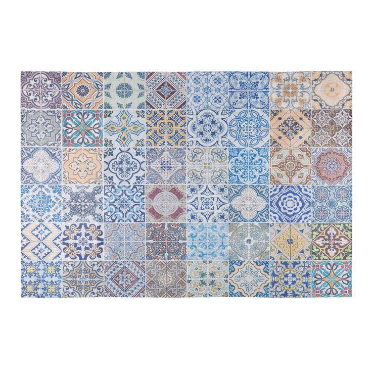 Tappeto in tessuto con motivi a mattonelle di cemento multicolore 150x230cm  CAPRI