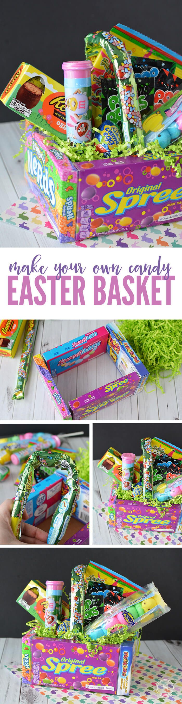 DIY Candy Easter Basket! An easy and creative way to make a FUN Easter Basket as a gift this year! These make a great Teacher Gift too!