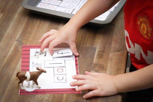 Preschool on the Farm theme. Build-a-word activity.