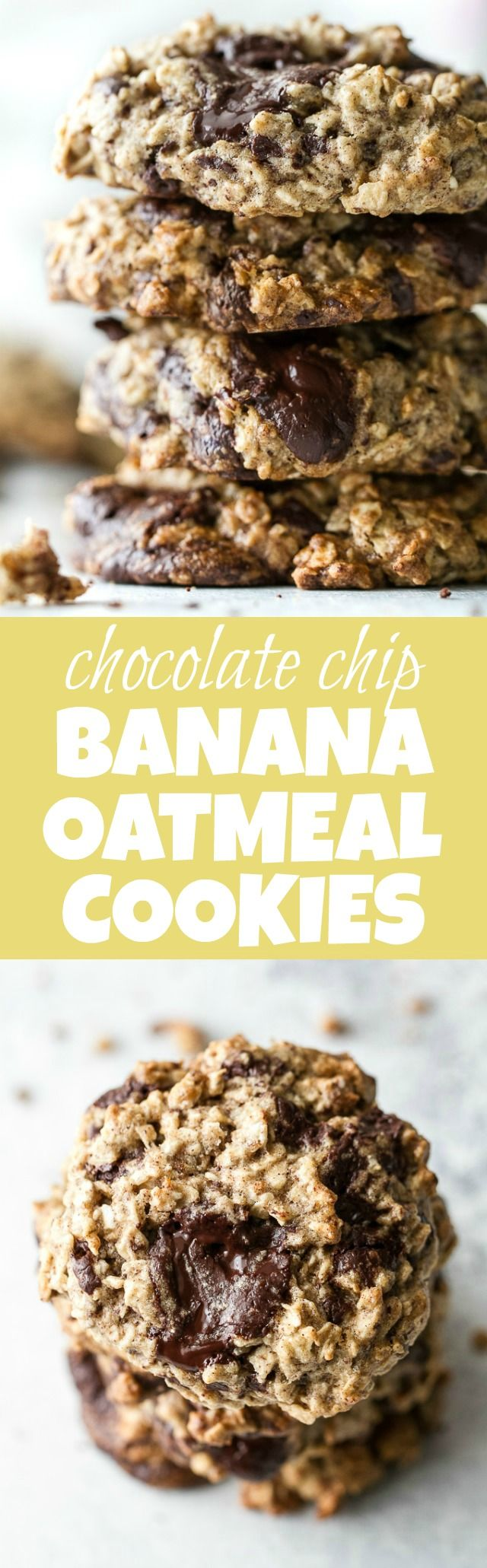 Chocolate chip banana oatmeal cookies made with healthy ingredients and loaded with plenty of chocolate and oats! They're gluten-free, vegan, and make a perfect snack for any time of the day! | runningwithspoons.com