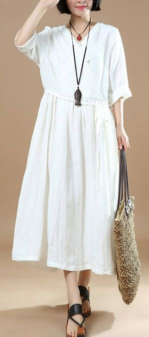acf1847f85e 2018 white long linen dress trendy plus size embroideried fabric linen maxi  dress