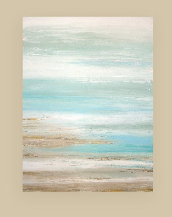 "Shabby Chic Art Original Acrylic Abstract Beach Painting Titled: A Dream Of Summer 7 30x40x1.5"" by Ora Birenbaum"