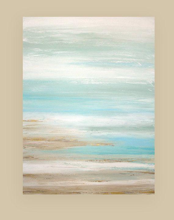 "Shabby Chic Art Original Acrylic Abstract Beach Painting Titled: A Dream Of Summer 7 30x40x1.5"" by Ora Birenbaum"