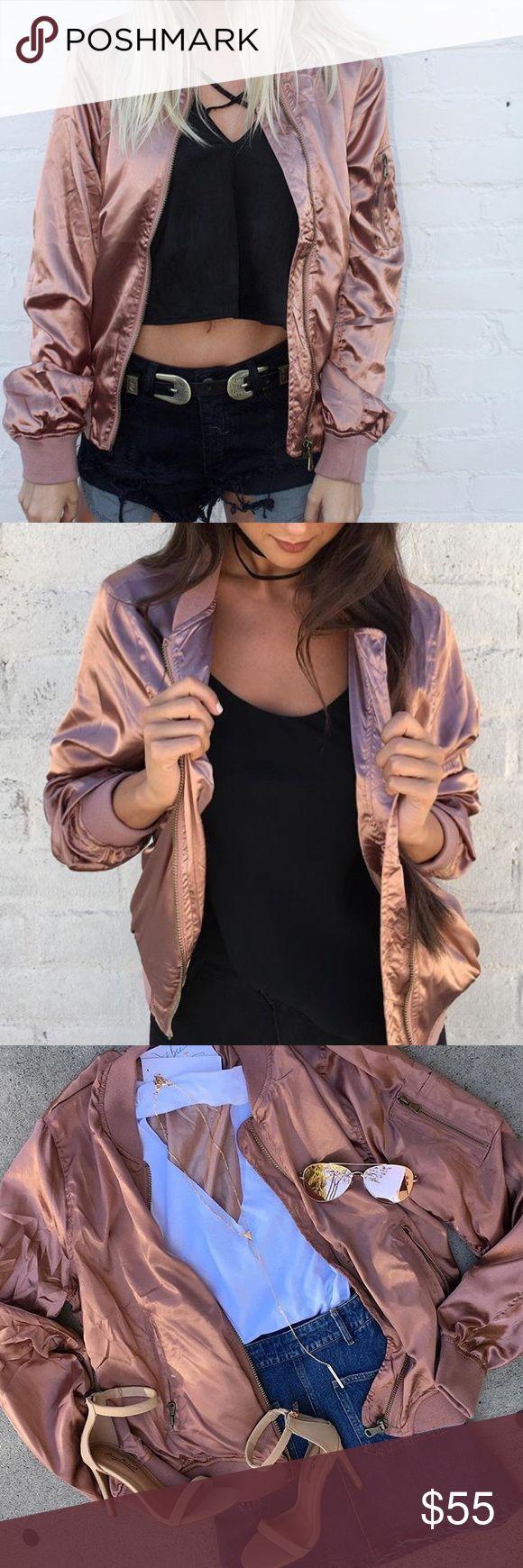 RESTOCKED ALL SIZES Rosegold Satin Bomber Jacket Brand new. BOGO excluded Jackets & Coats
