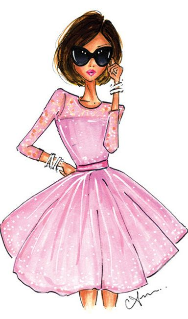Fashion Illustration, The Pink Dress Print by Anum Tariq