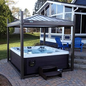 Hot Tub Covana III Gazebo and Cover - open. Available now at http://ihtspas.com/covana.php