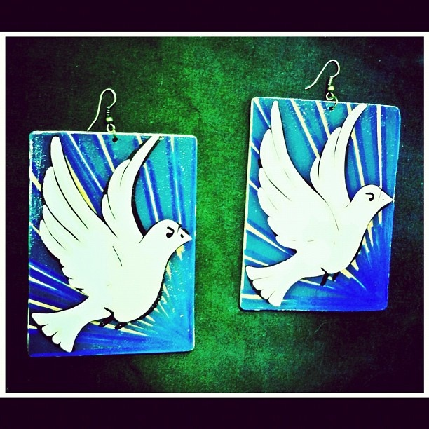 Blue and white dove earrings