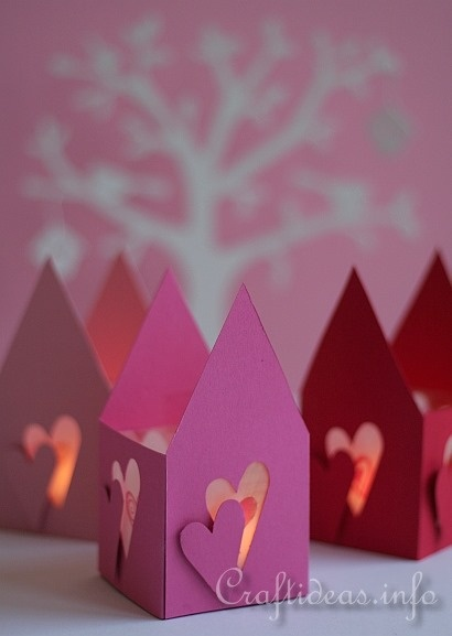 Valentine's Day Craft - Romantic Paper Tea Light Houses - use with battery tealights and make with the girls.