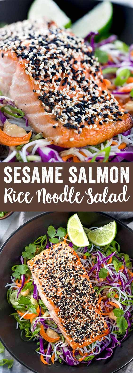 Sesame salmon served with a cold rice noodle salad. Crunchy cabbage and carrots tossed in a delicious honey lime dressing.  via @foodiegavin
