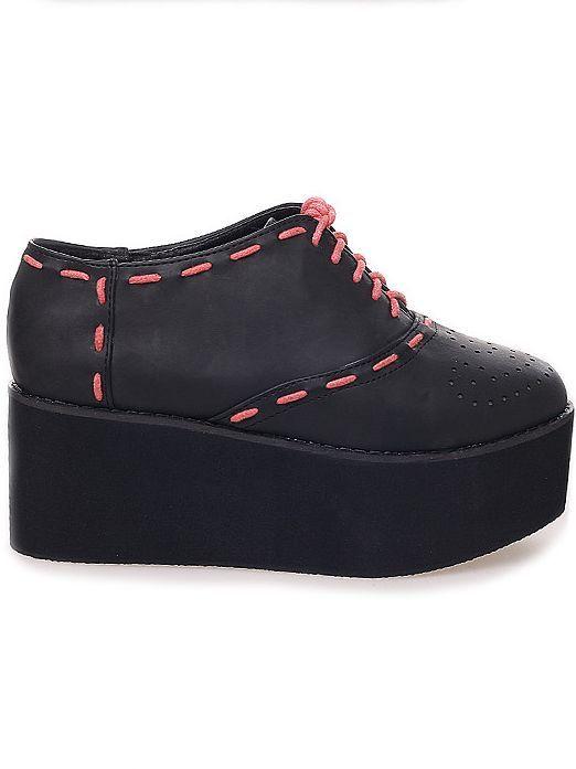 Korean Fashion Color Matching Straps Platform Shoes