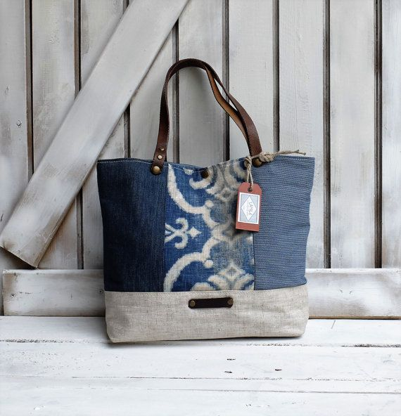 linen tote bag, patchwork style, leather handles, Included dust-guard