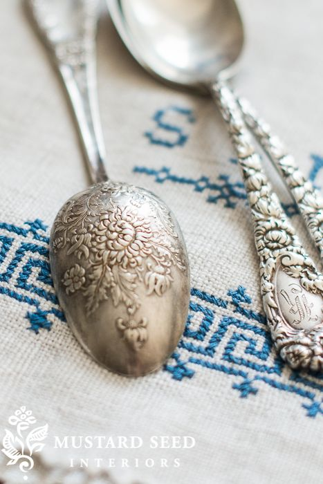 Beautiful old silver spoons.