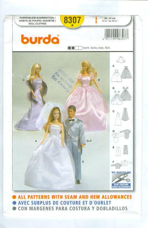 e pattern barbie and ken wedding wardrobe sewing pattern burda 8307 on etsy. Black Bedroom Furniture Sets. Home Design Ideas