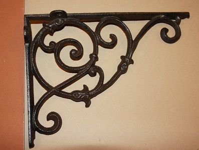 "ELEGANT COUNTRY DESIGN SHELF BRACKETS, ELEGANT SHELF BRACKETS, DECORATIVE CORBELS, 7 1/4"" X 10 1/2"", B-8"
