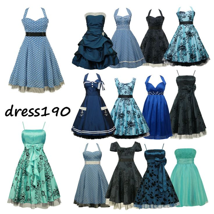 dress190 Blau 50er Jahre Rockabilly Party Cocktail Abschlussball Brautjun Kleid