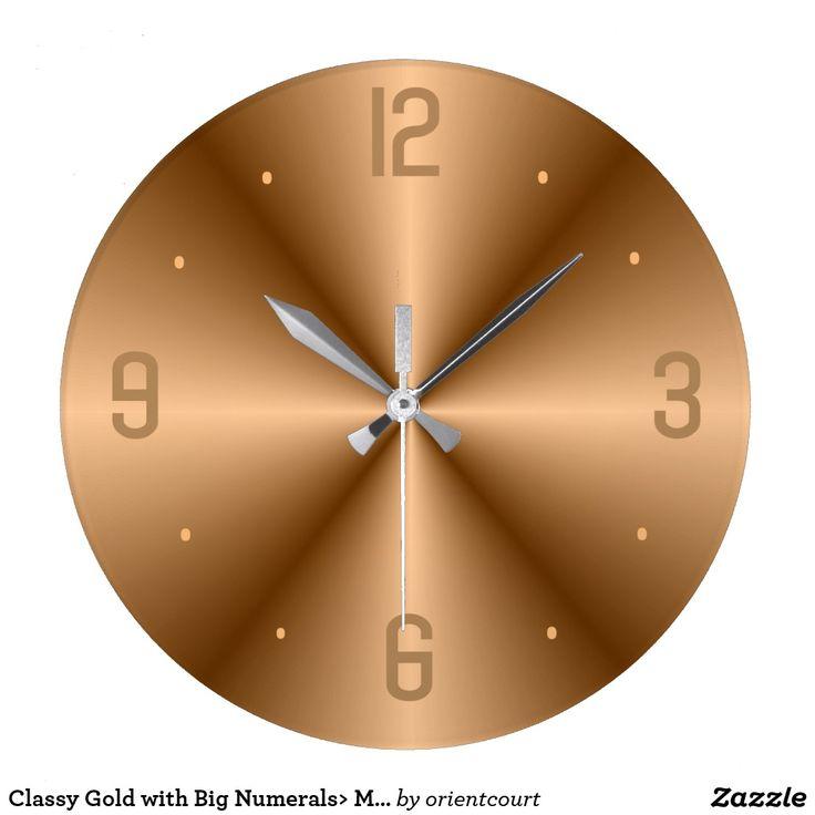 Classy Gold with Big Numerals> Minimalist Clocks