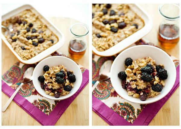 Baked oatmeal ready for company or a week of breakfasts.  Adjustable to likes and ingredients.