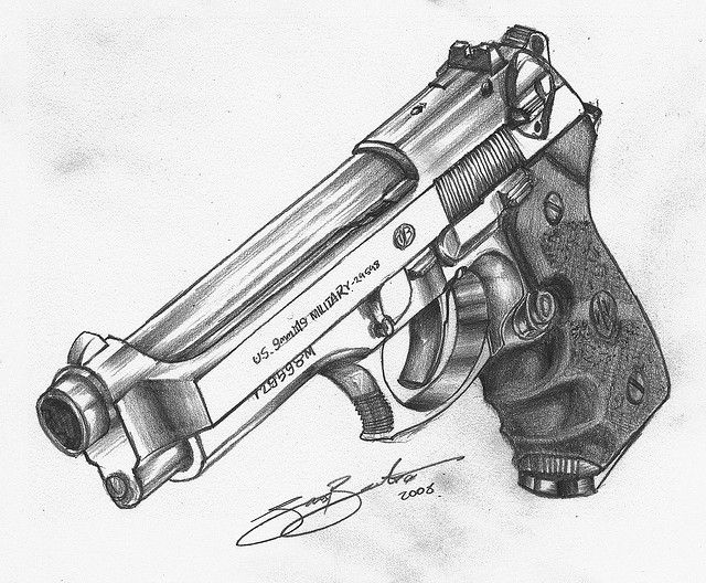 Gallery For gt Pencil Drawings Of Pistols