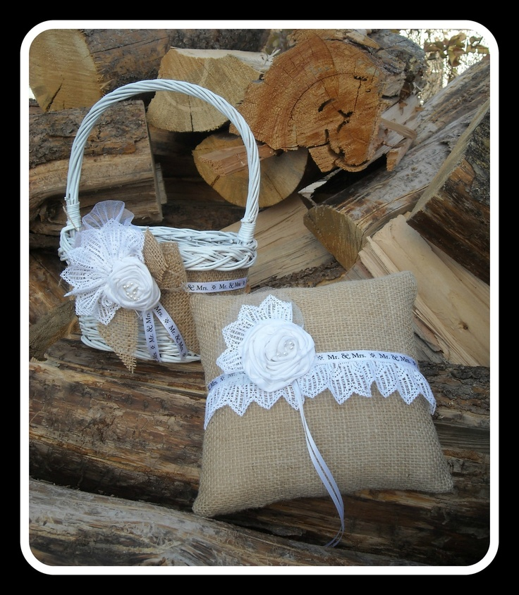 Burlap and Lace Ring Bearer Pillow and Flower Girl Basket Wedding Set For An…