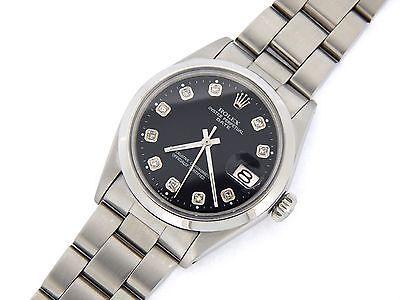 Para hombres Reloj de acero inoxidable fecha Rolex Ostra Con Bisel abovedado y Negro esfera Diamantes