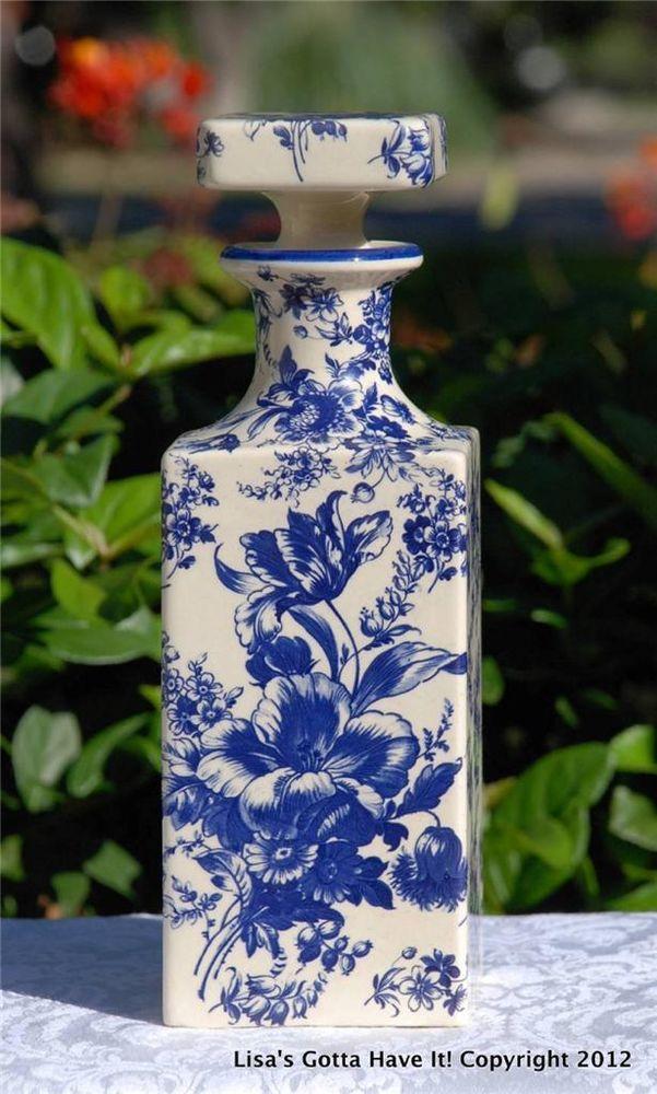 Vintage Sicas Sesto Fior Italian Made Floral Blue White Decanter Pottery Blue White Blue