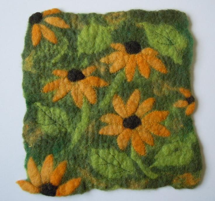 Handmade Felt, Rudbeckia Flowers, Painting, Wool Art. £38.00, via Etsy.