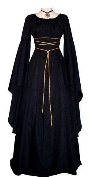 Medieval/Renaissance Black Trumpet Sleeve Costume Gown, Custom made to order in…