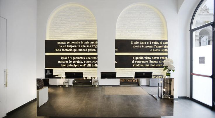 Contemporary interior design, striking impression with bold typography.