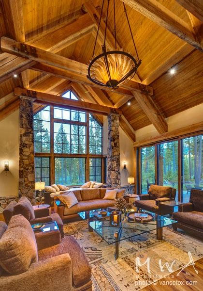 Wood Ceiling At Exposed Heavy Timber Trusses Caramel Tone