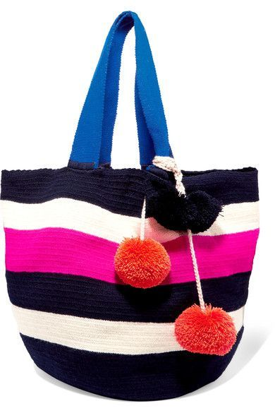 Sophie Anderson - Jonas Pompom-embellished Crocheted Tote - Black - one size