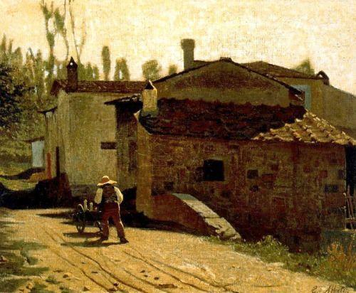 Giuseppe Abbati (Napoli 1836 - Firenze 1868), Il lattaio di Piagentina (The milkman of Piagentina), 1864, oil on canvas